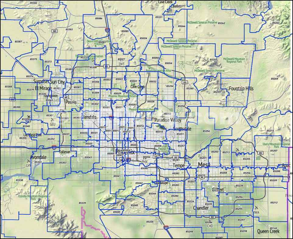 Map Of Tucson Arizona Zip Codes.Scottsdale Zip Code Map Scottsdale Az